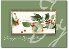 Holiday cards feature snowdusted holly branch with berries - by THE OFFICE GAL Card B3-M-0215-N39R-KE