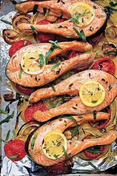 Broiled Salmon Steaks with Tomatoes, Onions and Tarragon | workingmother.com