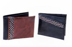 Billeteras en cuero y caña flecha. Color marrón y negro con diseños diferentes