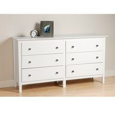 @Overstock - Enhance your home decor with a 6-drawer dresser   Bedroom furniture combines functionality with affordable style   Furniture features tapered legs and brushed nickel knobshttp://www.overstock.com/Home-Garden/Woodbury-White-6-drawer-Dresser/3908773/product.html?CID=214117 $289.99
