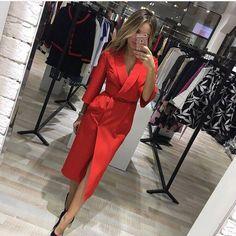 2018 сезон: весна–лето платье Для женщин модный Европейский Стиль Винтаж миди Платья для женщин красные, синие осень Повседневное пикантные элегантные Макси платье