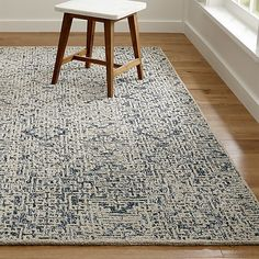 Trystan Indigo Blue Patterned Rug | Crate and Barrel