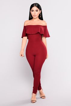 Ashtyn Flounce Jumpsuit - Burgundy
