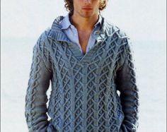 Tejido a mano de cuello alto de hecho a orden V suéter cuello hombres hombres de Jersey suéter cardigan ropa aran de punto hecho a mano de los hombres cableado cowlneck