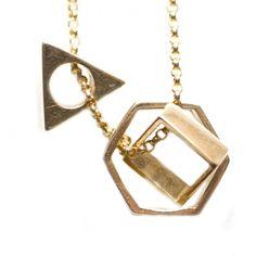 Triangle Hexagon Square Necklace Gold