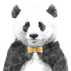Panda bear wearing a yellow bow tie art
