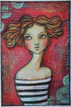 Image result for mixed media art whimsy girls images