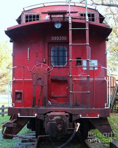 Red Sante Fe Caboose Train . 7d10476 Photograph - Red Sante Fe Caboose Train . 7d10476 Fine Art Print