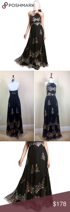 570d4a1dcad Meghan LA Black Sleeveless Sequin Evening Gown The pre-owned Excellent  condition