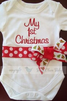 Read to ship size 0-3 months only CONTEMPORARY Christmas My 1st Christmas monogrammed baby girl long sleeved bodysuit newborn gift