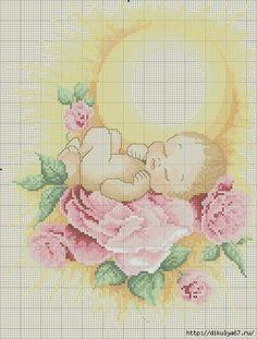 Baby sleeping on rose under sun//Cross Stitch Point de croix Tiny Cross Stitch, Cross Stitch Angels, Cross Stitch For Kids, Cross Stitch Kits, Cross Stitch Charts, Cross Stitch Patterns, Cross Stitching, Cross Stitch Embroidery, Cross Stitch Christmas Ornaments