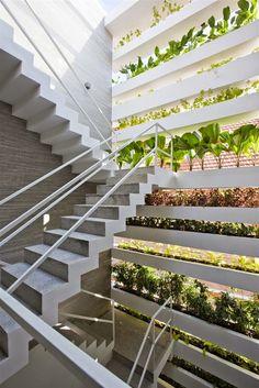 Stacking green nổi bất với hàng mặt tiền phủ đầy cây xanh tươi mát. Tường nhà là mảng đá xám phối hợp ăn ý với bàn ghế gỗ vô cùng đơn giản. Giữa khu vực giếng trời đặt chiếc chậu rửa và vòi nước.