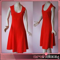 Vintage 1960s SKA MOD Bright Red Twiggy Carnaby St Pinafore Scooter Dress UK8