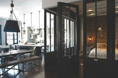 Daniel's Eclectic Industrial Loft- Cools doors to separate bedroom. Loft Spaces, Living Spaces, Loft Apartments, Small Spaces, Loft Design, House Design, Design Design, Design Ideas, Interior Architecture