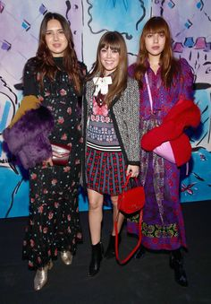 Dylana Suarez, Jenny Cipoletti and Natalie Suarez attend the Anna Sui fashion show during, New York Fashion Week: The Shows at Gallery 1, Skylight Clarkson Sq on February 15, 2017 in New York City.