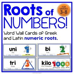 This is a set of ten word wall cards for pocket charts, literacy centers, and a quadrillion other uses! These cards illustrate the meaning of the numerical (numeric?) Latin and Greek roots that we find in everyday words. Words like unity, bisect, triangle Classroom Language, Math Classroom, Math Resources, Math Activities, Teaching Latin, 6th Grade Reading, Word Study, Word Work, Root Words