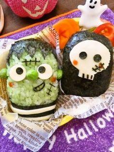 「【ハロウィン】フランケン&ドクロおにぎり」まいまい | お菓子・パンのレシピや作り方【corecle*コレクル】