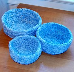 Make leftover fabric into yarn and then make baskets. Reminds me of rag rugs. Worth a try. Petals to Picots: Green Crocheting: Fabric Nesting Baskets Pattern