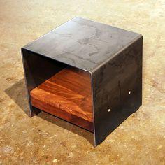 walnut and steel table ~ by sarabi studio