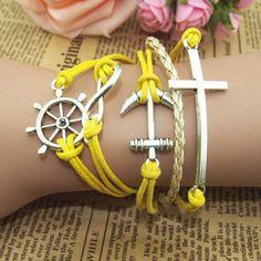 Retro romantic password anchor cross multiple leather cord bracelet | Tophandmade - Jewelry on ArtFire