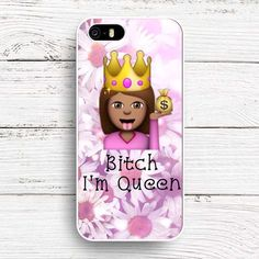 Funny Emoji PINK Queen Design White Hard Case Cover for iPhone SE 4 4 s 5 5s 5c…
