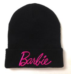 Womens BARBIE FOREVER 21 BEANIE Cuffed Black Pink Script Winter Knit Hat Ladies #Forever21 #Beanie #Everyday