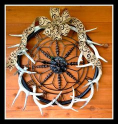 Deer Antlers,Deer Antler Wreath,Wreath, Antler Wreath,Deer Wreath,Hunting Decor,Lodge Decor Country,Fathers Day, Clock, Antler Clock via Etsy