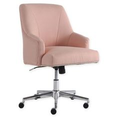 Bring a touch of casual elegance and ergonomic support to your home office with the Leighton Office Chair from Serta. This stylish and comfortable chair features a memory foam seat with lumbar support, swivel function and wheels for mobility. Home Office Chairs, Home Office Decor, Home Decor, Office Workspace, Office Ideas, Pink Desk Chair, Desk Chairs, Dining Chairs, Patio Chairs