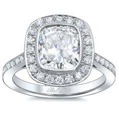 Bezel Cushion Halo Engagement Ring - click to enlarge