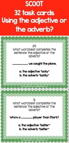 $ Assess whether students know when to use adjectives or adverbs with this set of 32 task cards #PartsOfSpeech