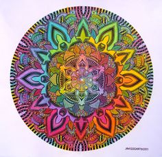 Mandala drawing 10 hand drawn with Staedtler and Copic pigment pens.. scanned and then beautifully coloured by my Deviant Art friend Hadas64