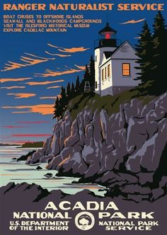 I love these National Park Posters! Acadia National Park - US Dept of the Interior - National Park Service Poster - Ranger Doug's Enterprises Acadia National Park, Us National Parks, Retro Poster, Vintage Travel Posters, Vintage National Park Posters, Party Vintage, Voyage Usa, Wpa Posters, Park Service