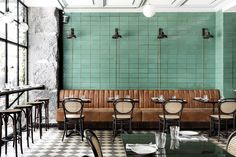 Les Trois Cochons is one of the restaurants in the Cofoco range in Copenhagen. I love their green tile wall, combined with the cognac leather bench and the bistro chairs. The interior is such an important factor for the vibe … Continue reading → Cafe Bar, Cafe Restaurant, Restaurant Design, Bistro Design, Coffee Shop Design, Bistro Interior, Cafe Interior Design, Interior Architecture, Café Design