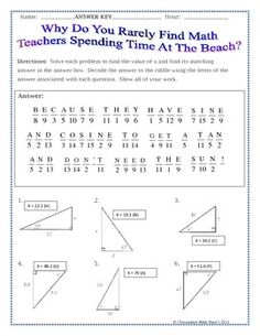 SIN COS TAN (SOH CAH TOA) TRIGONOMETRY RIDDLE PRACTICE WORKSHEET - TeachersPayTeachers.com