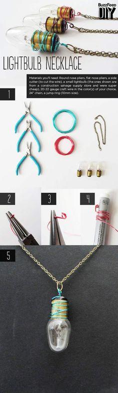 DIY lightbulbs necklace