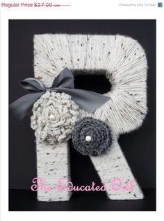Yarn Wrapped Letter Yarn Monogram by TheEducatedOwl on Etsy Yarn Wrapped Letters, Yarn Letters, Diy Letters, Diy Arts And Crafts, Home Crafts, Diy Crafts, Initial Wall Art, Crafty Craft, Crafting