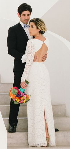 """A real Houghton bride in her long sleeve open back Guipure lace """"Chante"""" column gown. Visit the NYC Houghton Atelier to view and try on the full Bridal and Ready-To-Wear collection! By appointment only.  Email sales@houghtonnyc.com for availability!"""