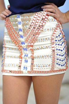 Be Jeweled Sparkle Skirt: Ivory