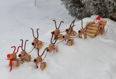 Wine Cork Santa Sleigh and His Eight Tiny Reindeer PLUS