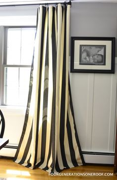 Loooooove black and white vertical stripe curtains!