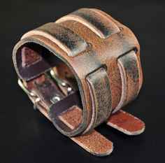 Men's+Double-Band-Through+Wide+Vintage+Genuine+Leather+Bracelet+Wristband+Cuff