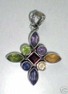 925 St Sterling Silver Natural Gemstone Chakra With Purple Amethyst Orange Citrine Blue Carnelian Green Peridot Jade Green Aventurine Red Ga...