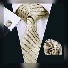 "This is brand new men's silk tie set.  The set includes a coordinating silk tie, pocket square (handkerchief) and cuff links.    Tie length is 61"" from end to end, and 3.25"" width at the widest part of the tie. Makes a great gift! 🎁    **Please Note** This item requires three (3) weeks to ship. Please take shipping time into consideration when placing your order. 📦    This item is available for international shipping for $6.80. 🌎 