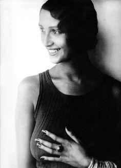 Jacques Henri Lartigue: Renée Perle, Half-Portrait in Sleeveless Top. 1930
