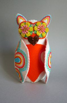 Embroidered Owl Mexican Folk Art Owl Doll by calaverasYcorazones