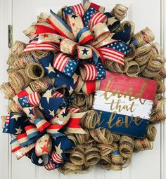 This beautiful rustic burlap wreath is the missing link to dressing up your home for the summer! Fourth Of July Decor, 4th Of July Decorations, 4th Of July Wreath, July 4th, Wreath Crafts, Diy Wreath, Wreath Burlap, Wreath Making, Wreath Ideas