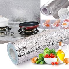 Kitchen Oil-proof Waterproof Stickers Aluminum Foil Kitchen Stove Cabinet Self Adhesive Wall Sticker DIY Wallpaper(China) Wall Stickers Uk, Wall Stickers Wallpaper, Kitchen Wall Stickers, Diy Wallpaper, Self Adhesive Wallpaper, Diy Tapete, Brick Pattern Wallpaper, Brick Wallpaper, Cuisines Diy