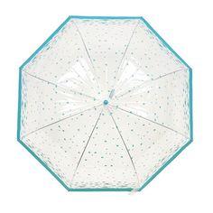 Damen Kuppel-Regenschirm, durchsichtig, mit Schmetterling- / Vogel-Design (One Size) (Türkis (Vögel))  knapp 10 €