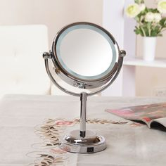 Girls' Beauty makeup Mirror with light Cosmetic Side Magnifying Stand Large faced lamp desktop fashion mirrors dressing     #http://www.jennisonbeautysupply.com/    http://www.jennisonbeautysupply.com/products/girls-beauty-makeup-mirror-with-light-cosmetic-side-magnifying-stand-large-faced-lamp-desktop-fashion-mirrors-dressing/,      Beauty Compact Mirror Makeup 3X Double Sided Cosmetic Makeup Mirror With Light Plastic Vanity Table Magnifying Mirror Portable  Descriptions:   Item condition…