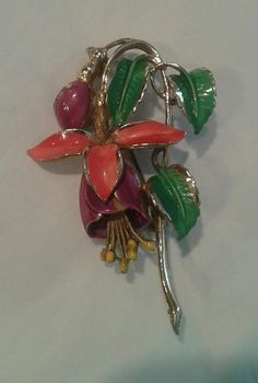 Vintage Floral Brooch signed Exquisite. Made in the UK in the early 50's. hand painted Enamel Fuchsia.